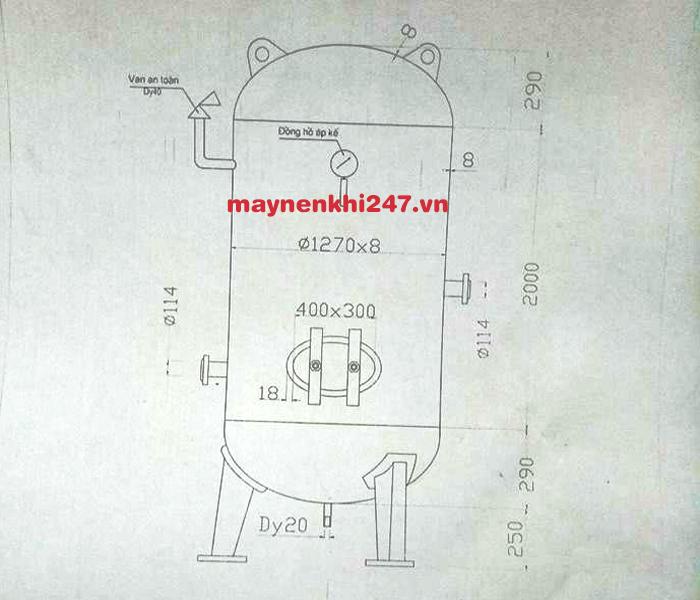 thiết kế bình chứa khí nén mini